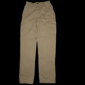 BOYS TAN CARGO PANTS LANDS END LINED KNEE 16